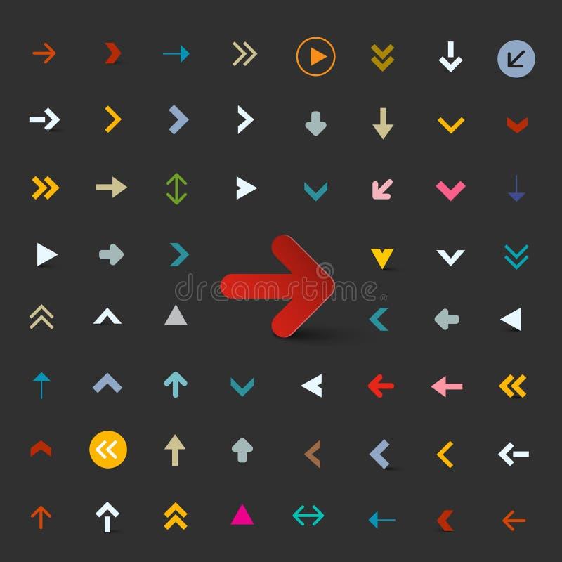 Flèches plates réglées Collection colorée de flèche d'ector illustration de vecteur