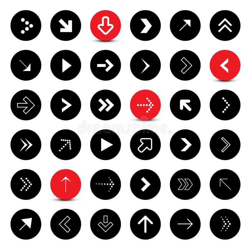 Flèches réglées Flèches de vecteur de cercle illustration de vecteur