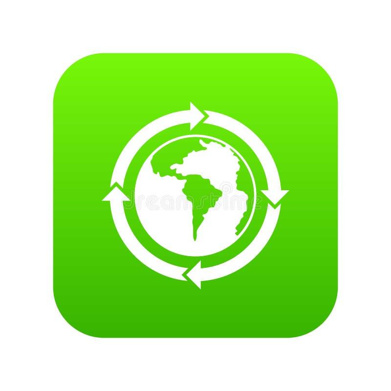Flèches rondes autour de vert numérique d'icône de planète du monde illustration de vecteur