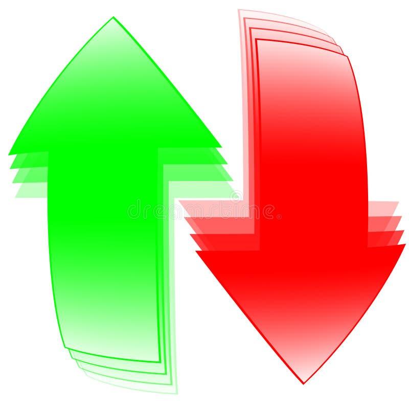 Flèches rouges et vertes illustration libre de droits
