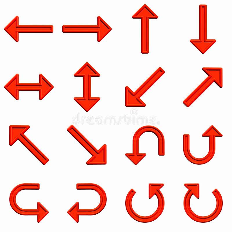 Flèches rouges réglées illustration de vecteur