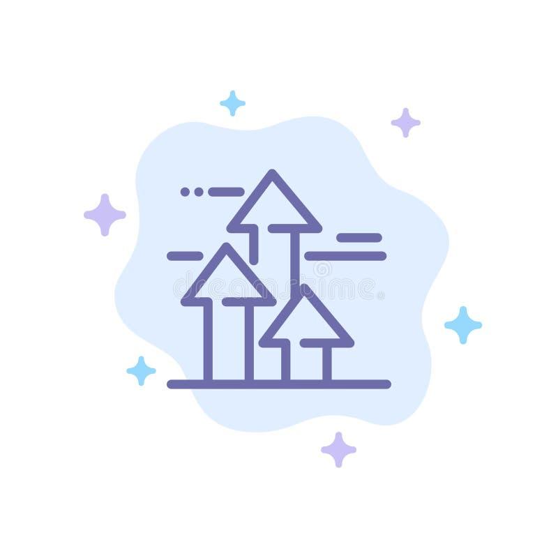 Flèches, sauts, ruptures, avancées, limites de l'icône bleue sur fond abstrait nuage illustration de vecteur
