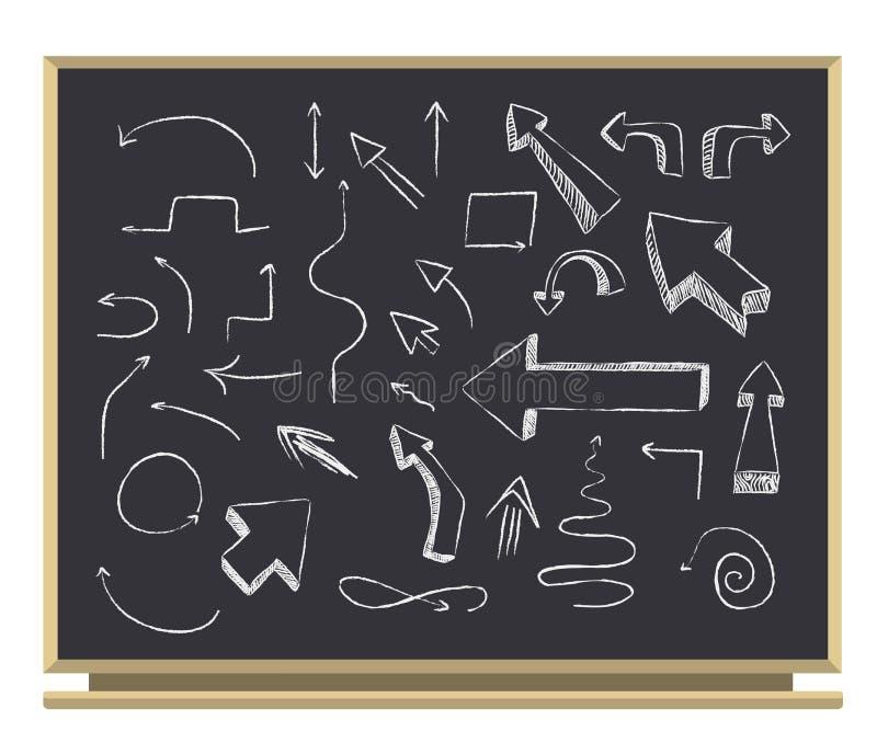 Flèches sur le tableau noir illustration de vecteur