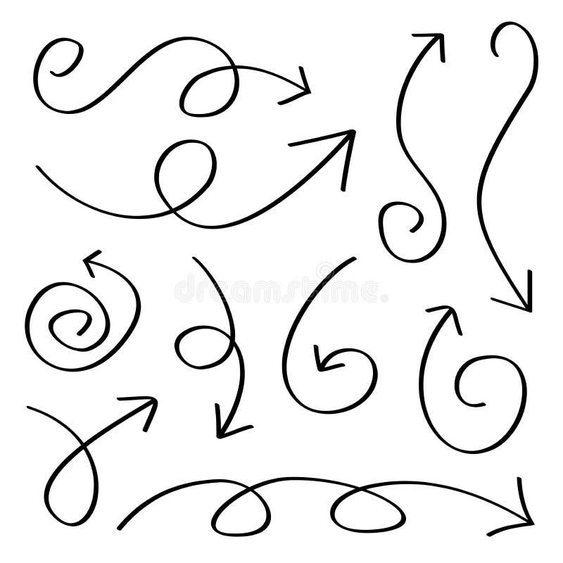 Flèches tirées par la main illustration de vecteur