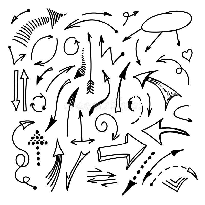 Flèches tirées par la main d'isolement sur l'ensemble blanc de fond Vecteur illustration libre de droits