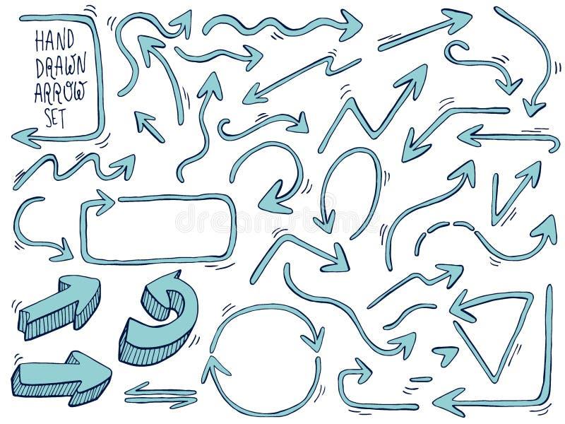 Flèches tirées par la main Flèches de griffonnage réglées Illustration de vecteur illustration stock