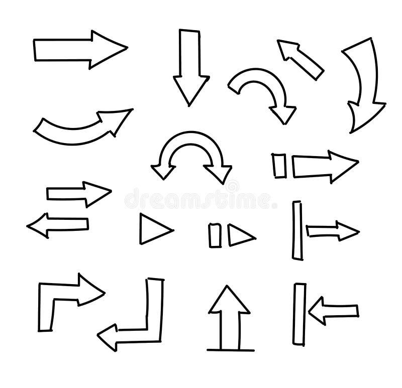 Flèches tirées par la main réglées d'isolement sur le blanc illustration stock