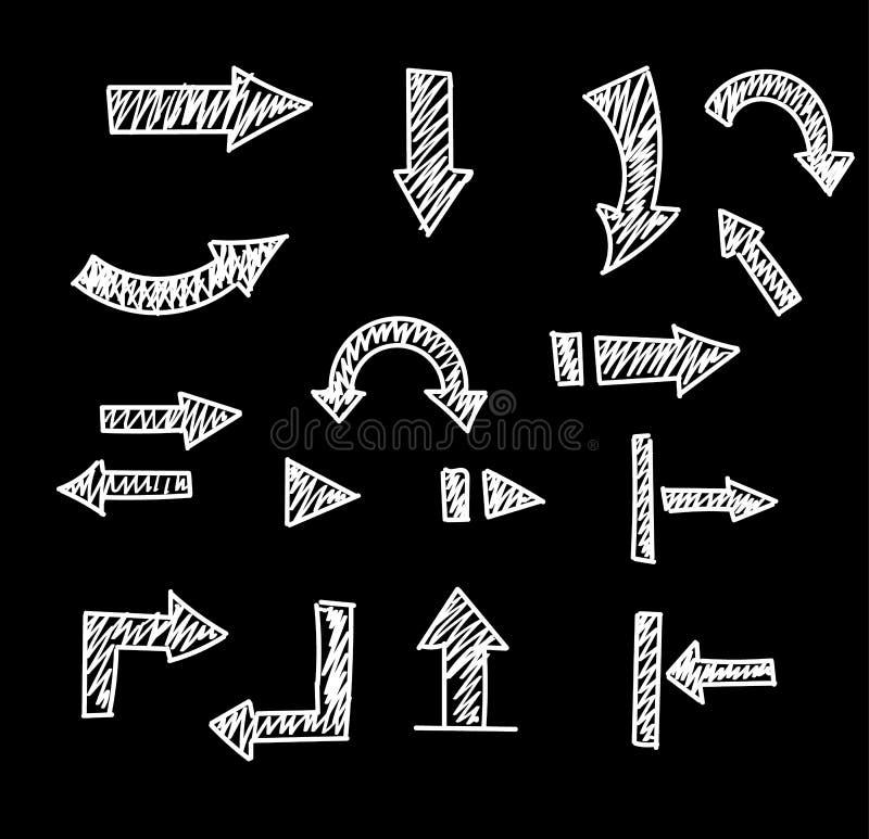 Flèches tirées par la main réglées d'isolement sur le blanc Ensemble de flèche de croquis L'illustration de vecteur pour vos affa illustration stock