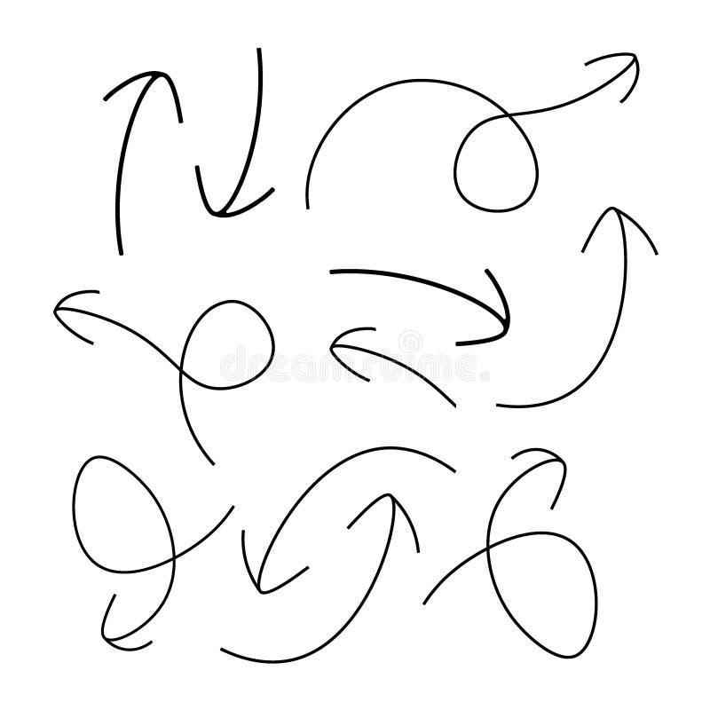 Flèches tirées par la main - vecteur illustration stock