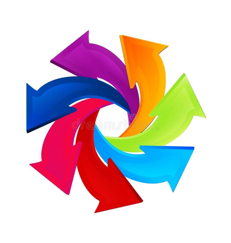 Flèches tournoyant dans un vecteur d'icône d'affaires de cercle illustration de vecteur