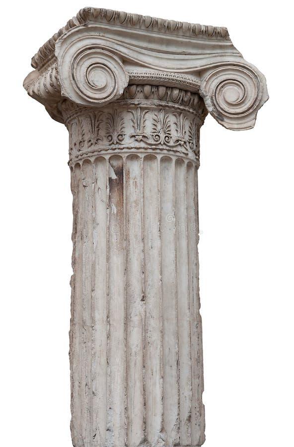 Fléau ionique du grec ancien d'isolement sur le blanc image stock