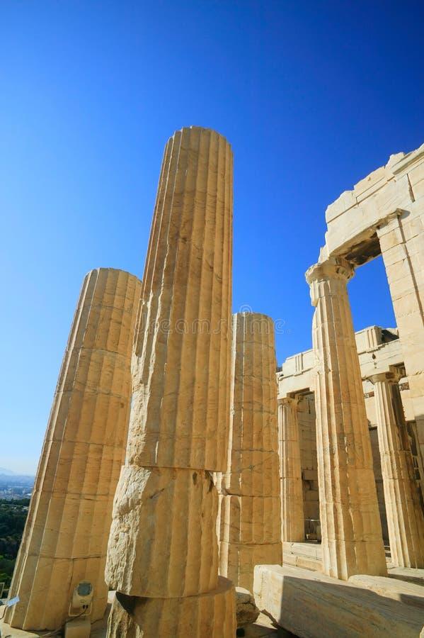 Fléaux d'Acropole, Athènes image stock