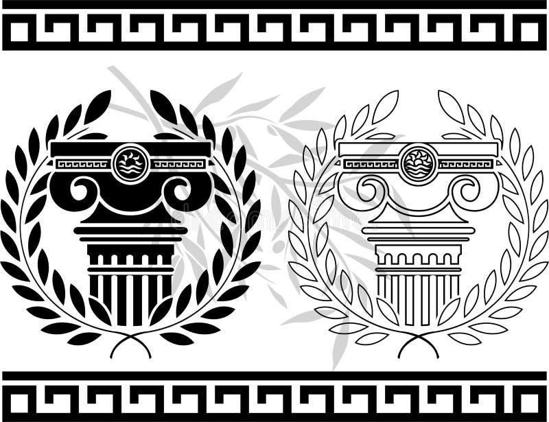 Fléaux ioniques avec des guirlandes illustration libre de droits