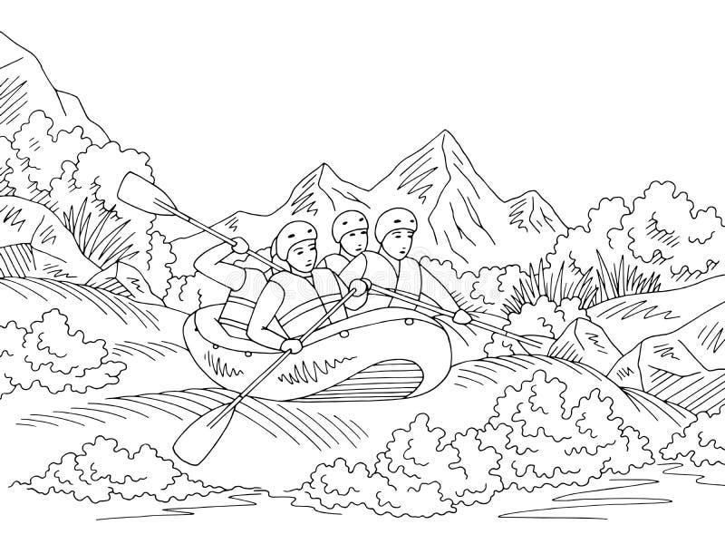 Flößen Skizzen-Illustrationsvektors der Bootsreise des grafischen schwarzen weißen Landschafts stock abbildung