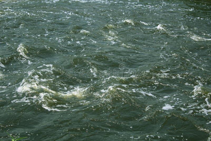 Flödande bakgrund för textur för flodvatten med bubblor royaltyfri foto