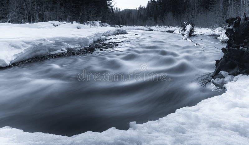 Flödande flod i vinter med snö arkivfoto