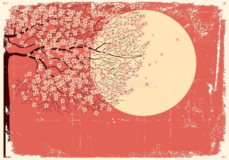 flödande grungebildsakura tree royaltyfri illustrationer