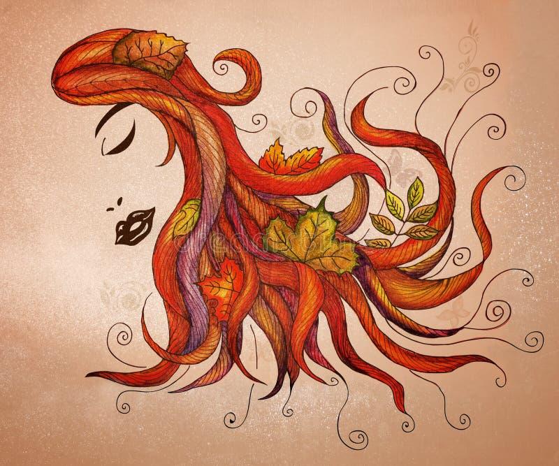 Flödande hår med fallleaves vektor illustrationer
