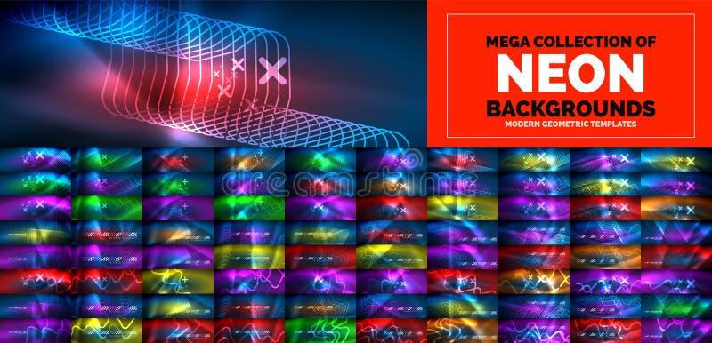 Flödande linjer för neon och vågbakgrunder Mega samling av att flöda för partikelvågor futuristisk stil för teknologi 3d vektor illustrationer