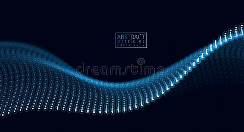 Flödande partikelvåg, dynamisk solid rörelse illustra för vektor 3d stock illustrationer