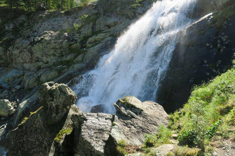 Flödande vattenfall i solig dag Altai berg, Sibirien, Ryssland royaltyfri foto