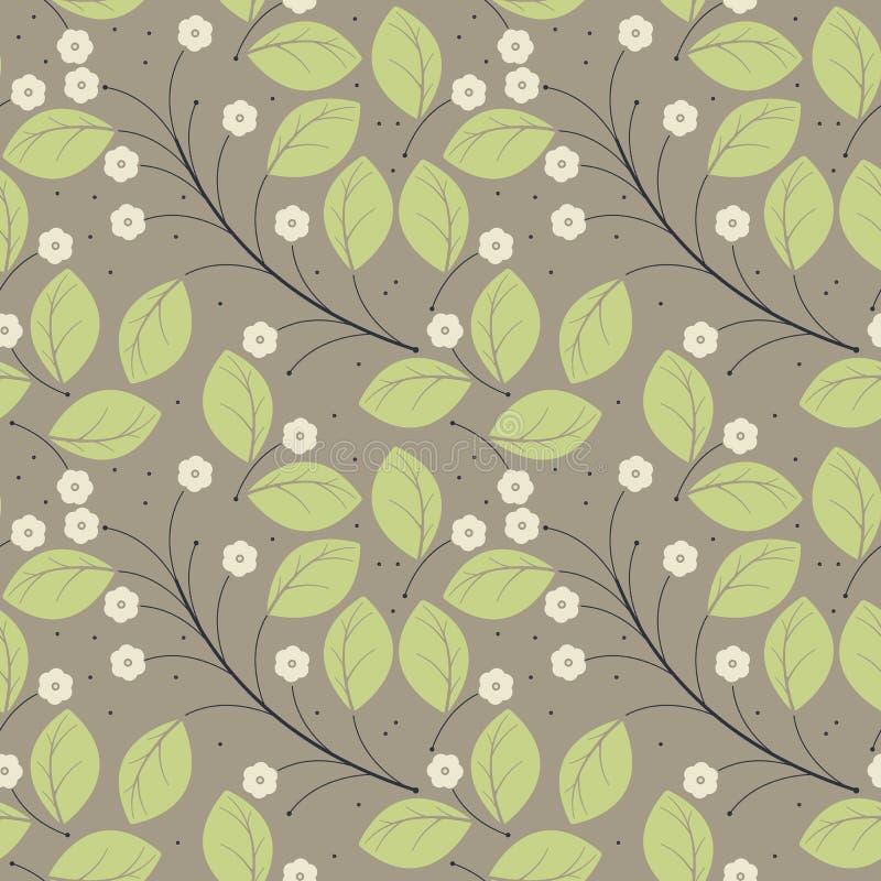 Flödar den sömlösa modellen för den perfekta våren med gräsplansidor och elfenben royaltyfri illustrationer