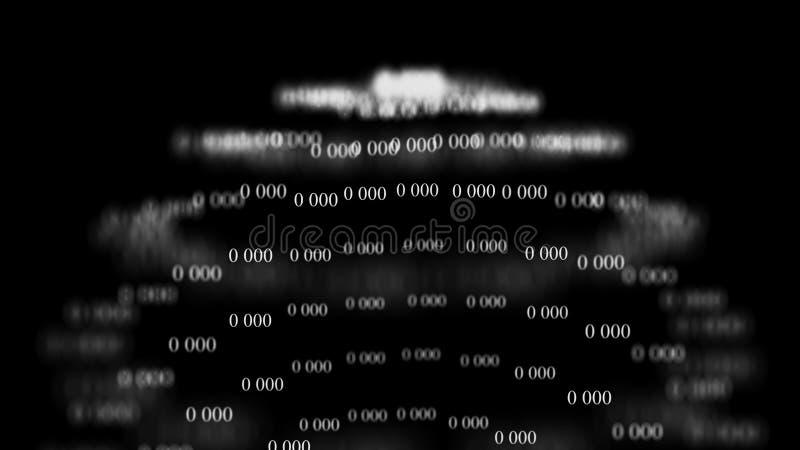 Flöde av noll Digital bakgrundsmatris framf?rande 3d bin?r kod f?r bakgrund programmering Reng?ringsdukb?rare stock illustrationer