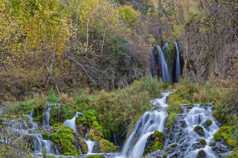 Flöde av Roughlack nedgångar, Spearfish Canyono royaltyfri bild