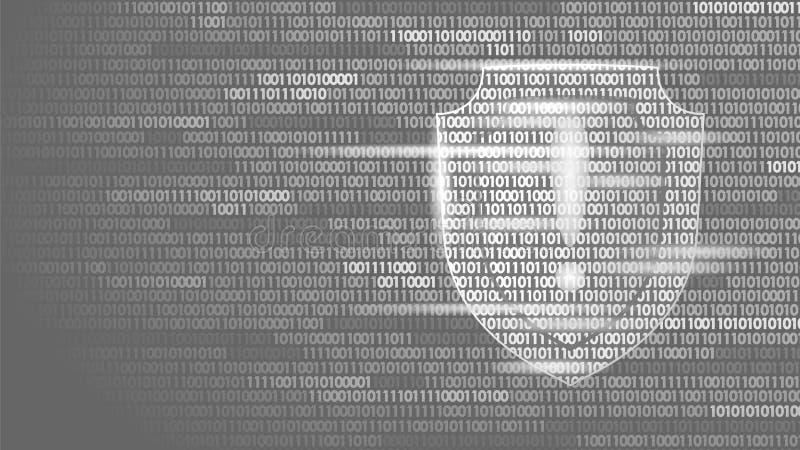 Flöde för binär kod för system för sköldvaktsäkerhet Stor affärsidé för antivirus för dator för attack för en hacker för datasäke stock illustrationer