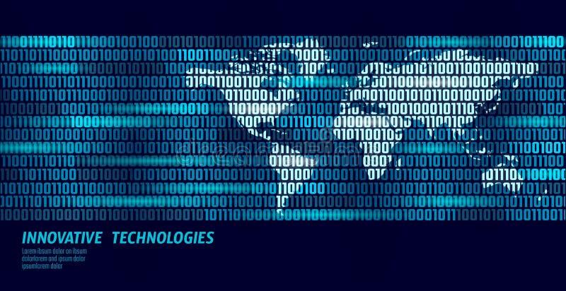 Flöde för binär kod för utbyte för data för planetjord globalt Affärsidé för personlig information om säkerhetsbetalning blå glöd vektor illustrationer