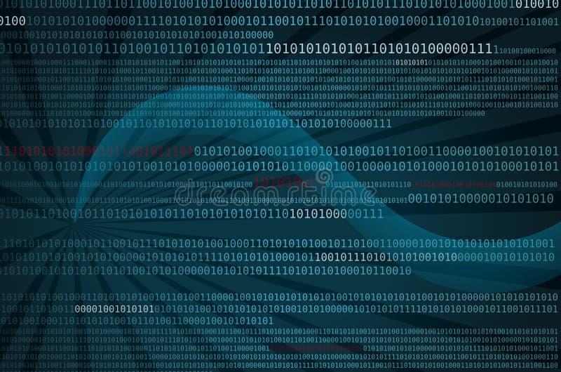 flöde för data för binär kod digitalt stock illustrationer