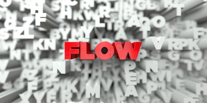 FLÖDE - Röd text på typografibakgrund - 3D framförde fri materielbild för royalty vektor illustrationer