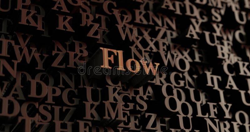Flöde - trä3D framförda bokstäver/meddelande royaltyfri illustrationer