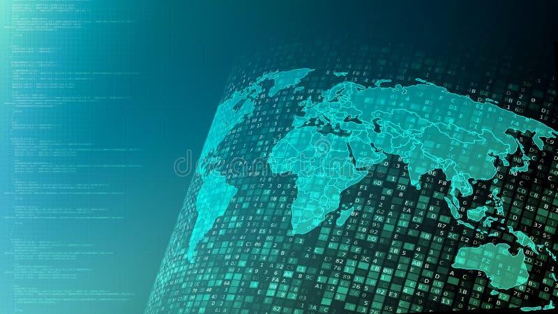 Flöden och bearbeta för digitala data för internet världsomspännande globala stock illustrationer