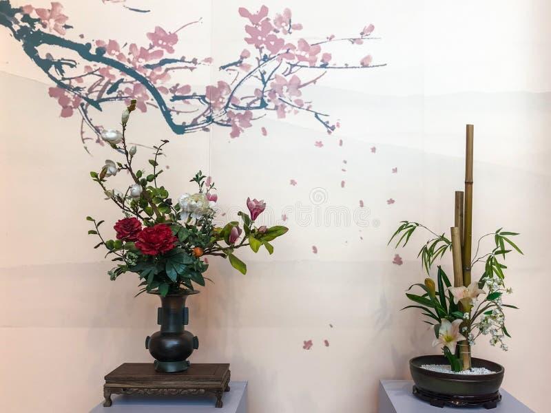 Flödesarrangemang med kinesiska kulturella och konstnärliga egenskaper fotografering för bildbyråer