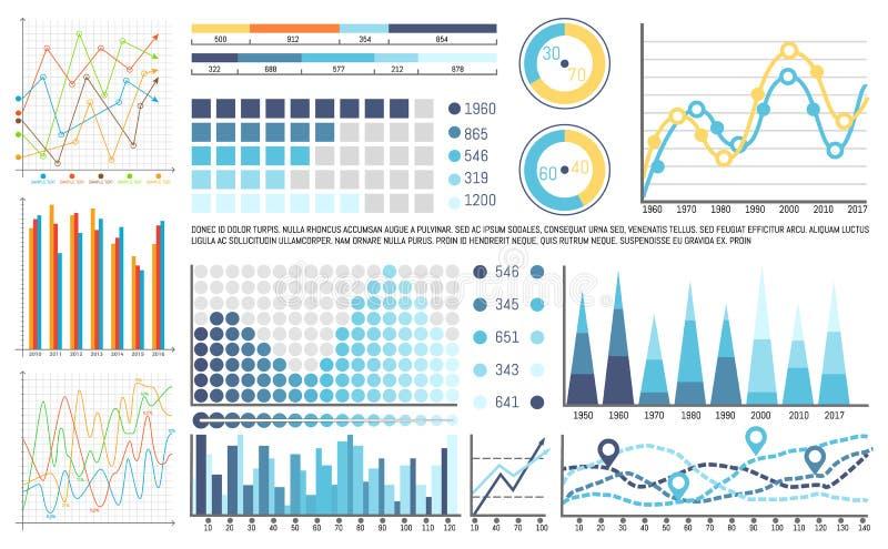 Flödesdiagramstrukturer, organisation av visuella data vektor illustrationer