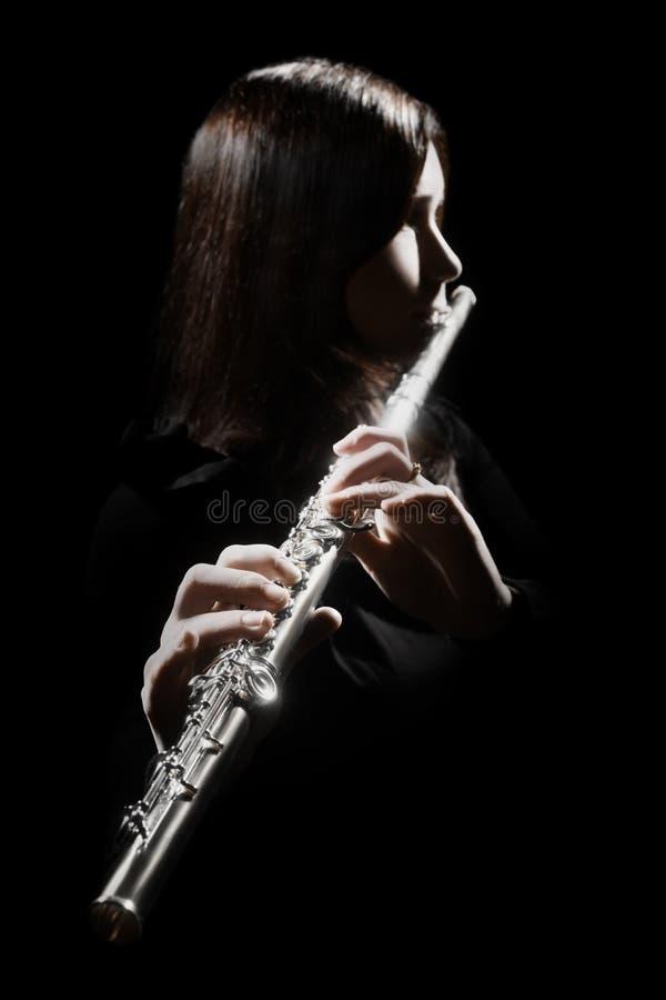 Flöjtist som spelar flöjten royaltyfria foton