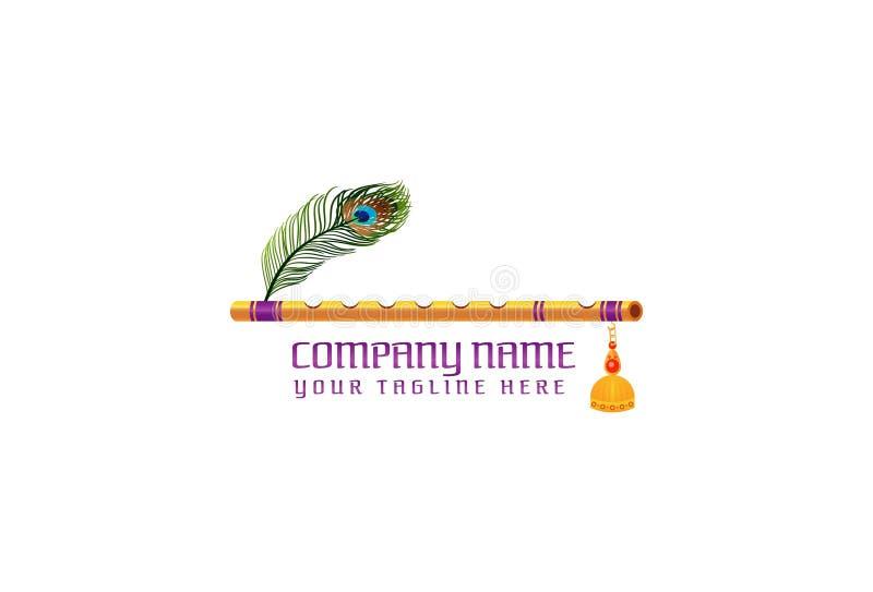 Flöjtlogodesign royaltyfri illustrationer
