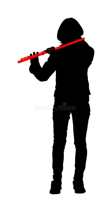 Flöjtmusik för ung kvinna som spelar vektorkonturn Flöjtistmusikeraktör med vindmusikinstrumentillustrationen vektor illustrationer