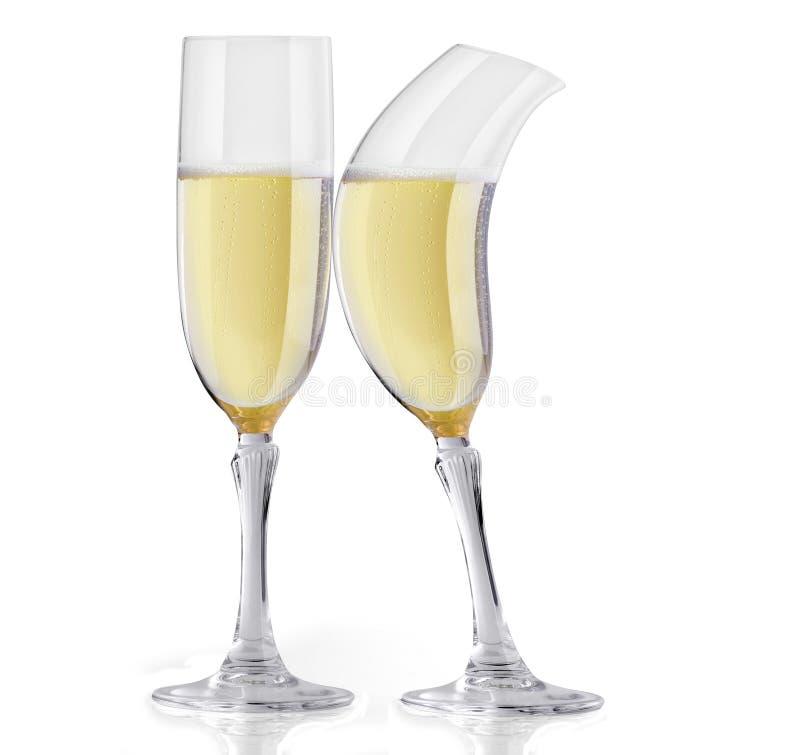 Flörta För Champagne Royaltyfri Foto