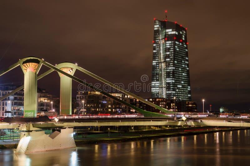 Flösser bridge with ECB in background, Frankfurt am Main royalty free stock images