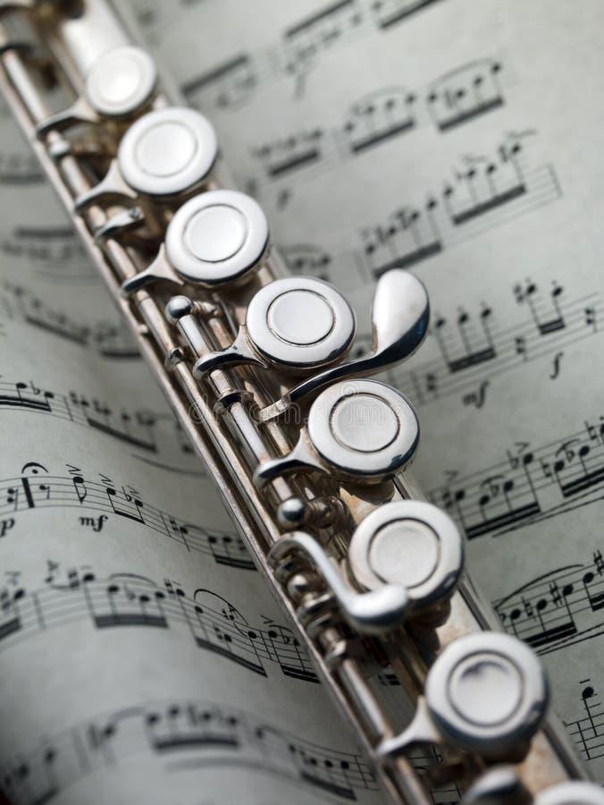 Flöte auf musikalischer Kerbe lizenzfreies stockbild