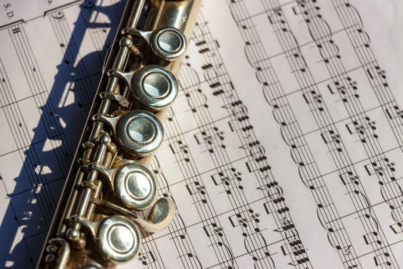 Flöte mit Noten stockbild