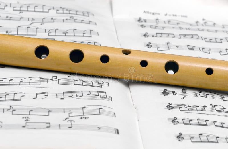 Flötenfragment auf einem Musikbuch 1 stockbilder