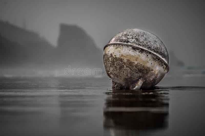 Flötet tvättade sig upp på stranden framme av klippor arkivbild