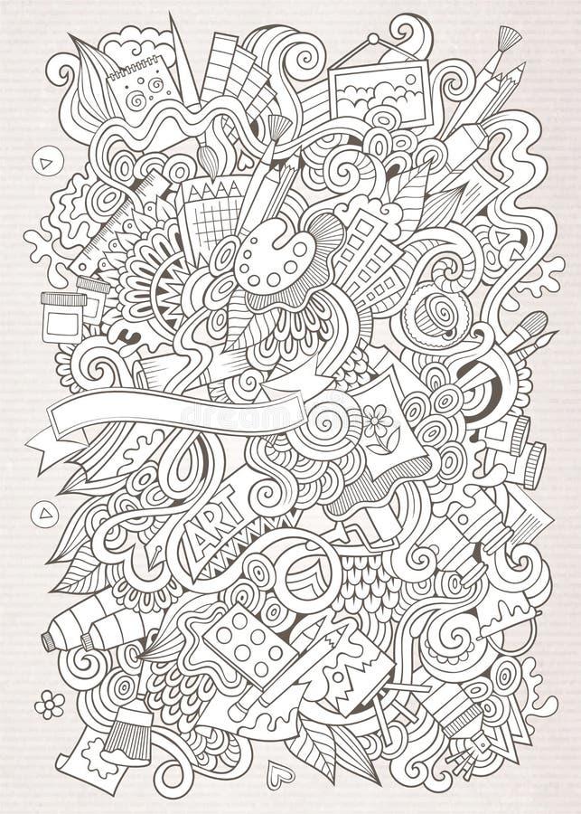 Flüchtige Kunst des Karikaturvektors und Handwerkshintergrund stock abbildung