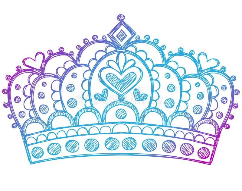 Flüchtige Prinzessin Tiara Crown Notebook Doodles lizenzfreie abbildung