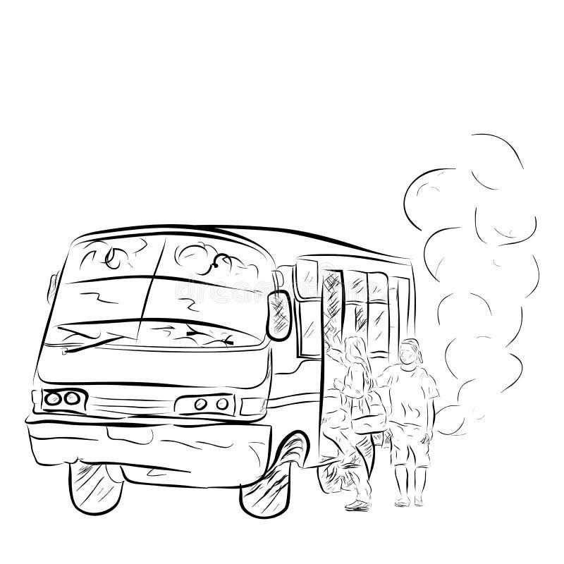 Flüchtiger alter und ätzender mittleres Mittel- Bus, in Großstadt einschließlich Jakarta, Indonesien lizenzfreie abbildung