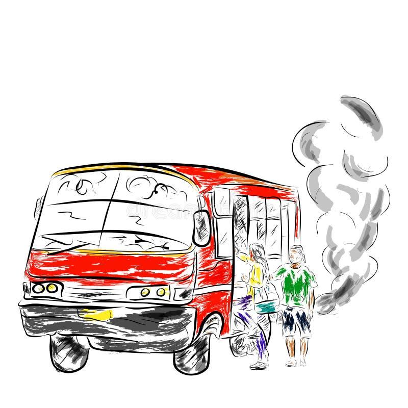 Flüchtiger alter und ätzender mittleres Mittel- Bus, in Großstadt einschließlich Jakarta, Indonesien vektor abbildung