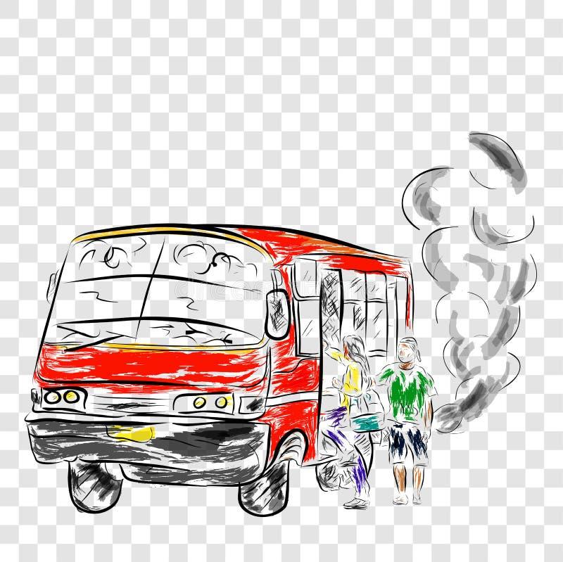 Flüchtiger alter und ätzender mittleres Mittel- Bus, in Großstadt einschließlich Jakarta, Indonesien, Wasserfarbe vektor abbildung